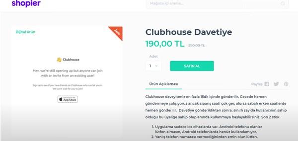 Clubhouse Davetiye kaç para